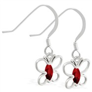 Sterling Silver Earrings with dangling Garnet jeweled butterfly