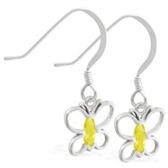 Sterling Silver Earrings with dangling Citrine jeweled butterfly
