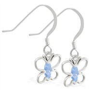 Sterling Silver Earrings with dangling Blue Zircon jeweled butterfly