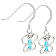 Sterling Silver Earrings with dangling Aquamarinejeweled butterfly