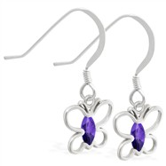 Sterling Silver Earrings with dangling Amethyst jeweled butterfly
