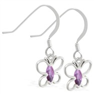Sterling Silver Earrings with dangling Alexandrite jeweled butterfly