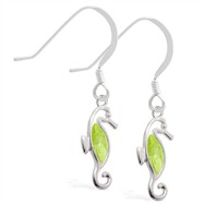 Sterling Silver Earrings with dangling Peridot jeweled seahorse