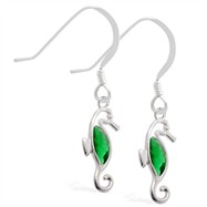 Sterling Silver Earrings with dangling Emerald jeweled seahorse