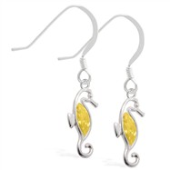 Sterling Silver Earrings with dangling Citrine jeweled seahorse