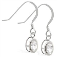 Sterling Silver Earrings with Bezel Set CZ Oval