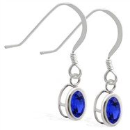 Silver Earrings with Bezel Set Sapphire Oval