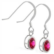 Sterling Silver Earrings with Bezel Set Ruby Oval
