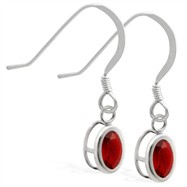 Sterling Silver Earrings with Bezel Set Garnet OvaL