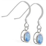 Sterling Silver Earrings with Bezel Set Blue Zircon Oval