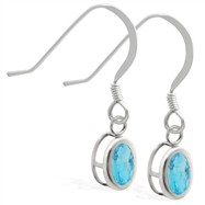 Sterling Silver Earrings with Bezel Set AquamarineOval