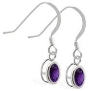 Sterling Silver Earrings with Bezel Set Amethyst Oval
