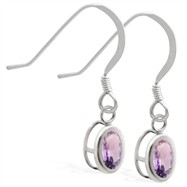 Sterling Silver Earrings with Bezel Set Alexandrite Oval