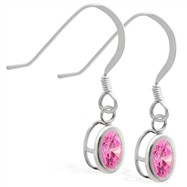 Sterling Silver Earrings  with Bezel Set Pink Tourmaline Oval