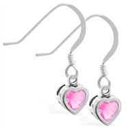 Sterling Silver Earrings with 5mm Bezel Set Pink Tourmaline Heart