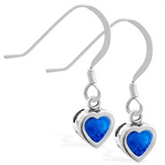 Sterling Silver Earrings with 5mm Bezel Set Sapphire Heart
