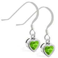 Sterling Silver Earrings with 5mm Bezel Set Peridot Heart