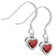 Sterling Silver Earrings with 5mm Bezel Set Garnet Heart