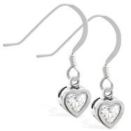 Sterling Silver Earrings with 5mm Bezel Set CZ Heart