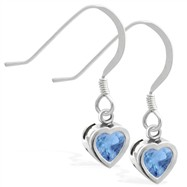 Sterling Silver earrings with 5mm Bezel Set Blue Zircon Heart