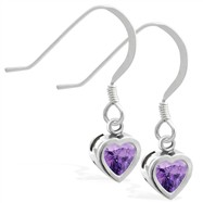 Sterling Silver earrings with 5mm Bezel Set Amethyst Heart