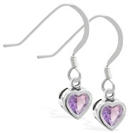Sterling Silver earrings with 5mm Bezel Set Alexandrite Heart