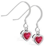 Sterling Silver earrings with 5mm Bezel Set Ruby Heart