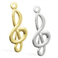 14K Gold Treble Clef Charm