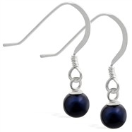 Sterling Silver Earrings with dangling 6mm Round Black Akoya, Grade AA pearl
