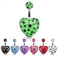 Heart Belly Ring with Star Print