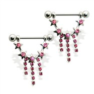 Pair of nipple barbells with jeweled star dangle, 14 ga