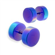 Pair of fake metalic blue  plugs, 16GA