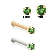 14K Gold  Dark Green Diamond Nose Bone