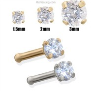 14K Gold Clear Diamond Nose Bone
