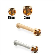 14K Gold Burn Orange Diamond Nose Bone