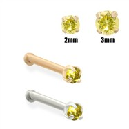 14K Gold Yellow Diamond Nose Bone