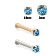14K Gold Teal Blue Diamond Nose Bone