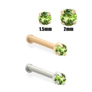 14K Gold Apple Green Diamond Nose Bone