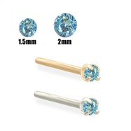 14K Gold Aqua Blue Diamond Nose Stud