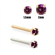 14K Gold Purple Diamond Nose Stud