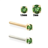 14K Gold Dark Green Diamond Nose Stud