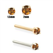 14K Gold Burnt Orange Diamond Nose Stud