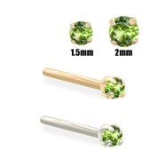 14K Gold Apple Green Diamond Nose Stud