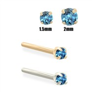 14K Gold Teal Blue Diamond Nose Stud