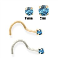14K Gold Teal Blue Diamond Nose Screw