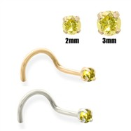 14K Gold Yellow Diamond Nose Screw