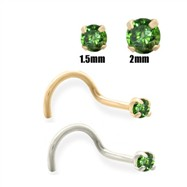 14K Gold Dark Green Diamond Nose Screw