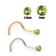 14K Gold Apple Green Diamond Nose Screw