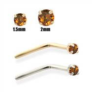 14K Gold Burnt Orange Diamond Nose Pin