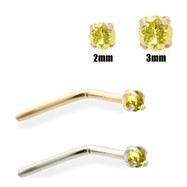 14K Gold Yellow Diamond Nose Pin